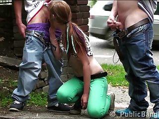 प्यारा किशोर एलेक्सिस क्रिस्टल सार्वजनिक सड़क त्रिगुट गैंगबैंग