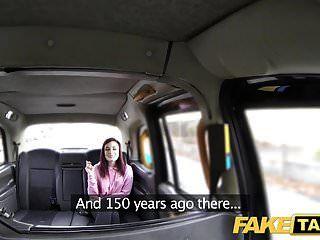 नकली टैक्सी अमेरिकन रेडहेड्स तंग गधा चालक द्वारा गड़बड़