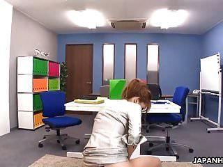 मोहक जापानी कार्यालय लड़की गुदा क्रीम वह वान मिला