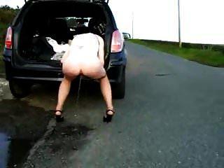 पत्नी को कार से पीटा